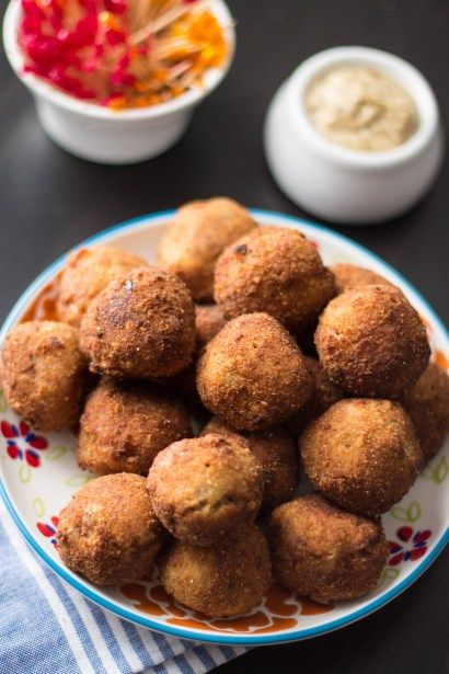 Bitterballen are crispy bite-size dutch beef croquettes. Serve it hot, with some grainy mustard on the side!