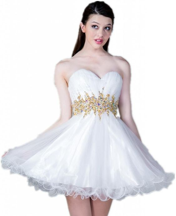 short Prom Dresses  Short white and gold junior prom party ...