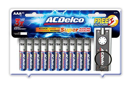 Acdelco Super Alkaline Aaa Batteries With Bonus Led Keychain Flashlight 20 Count Acdelco Best Pc Games Alkaline Battery