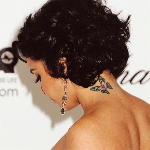Vanessa Hudgens, a tiny butterfly on her neck