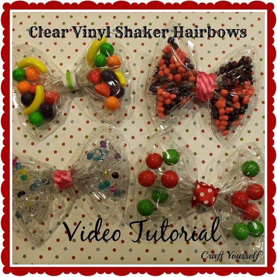 Clear vinyl shaker hair bows with video tutorial - craftyourself.com