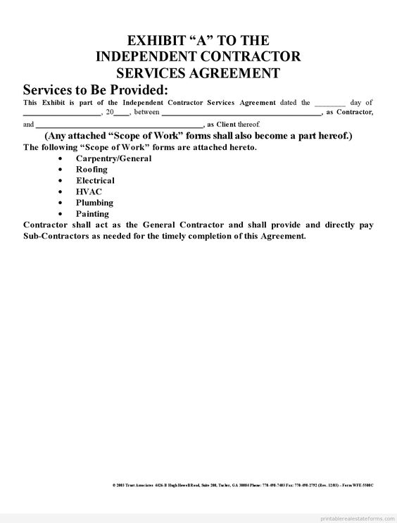 Printable Sample independent contractor agreement Form Template - sample contractor agreement
