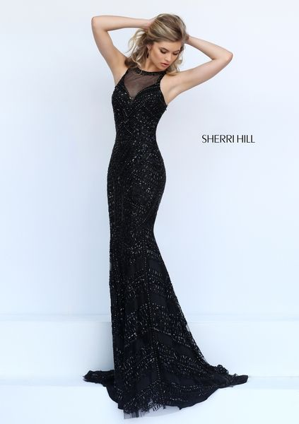 Black Mermaid Crystal Beading Crew Neck Her Prom Dress | Modern ...