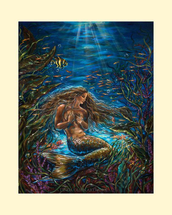 Secret Garden in the Sea Mermaid by OlsenIslandArt on Etsy