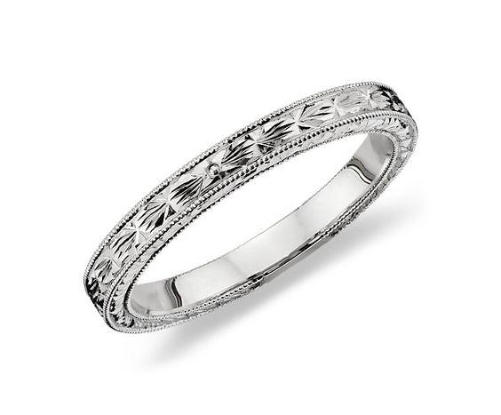 Hand Engraved Wedding Ring in 14k White Gold - Blue Nile