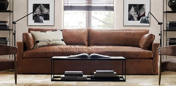 Belgian Track Arm Leather Sofa   Restoration Hardware