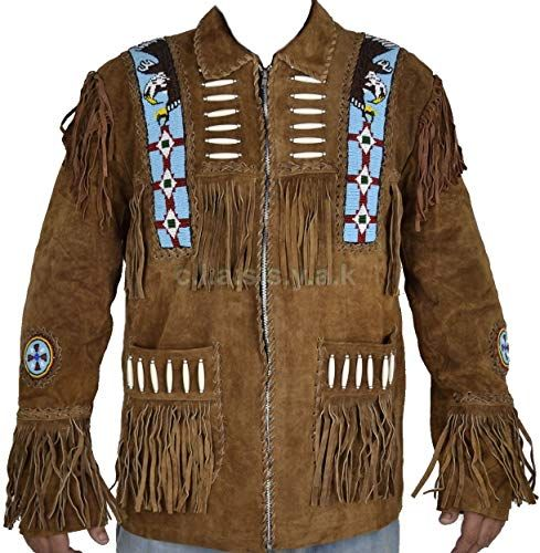 coolhides Mens Cowboy Fringed and Beaded Leather Jacket