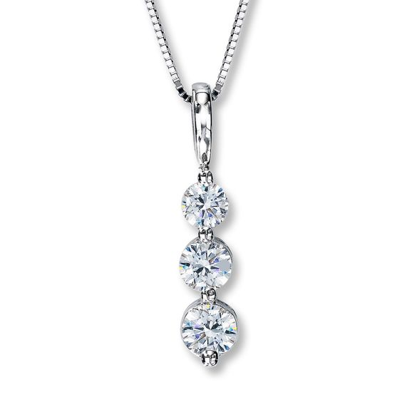 1//2ct diamant Journey Pendentif 14K Or Blanc