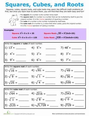 Printables Square Root Worksheets 8th Grade kid middle school and the square on pinterest kids review squared cubed numbers then try their hand at finding root