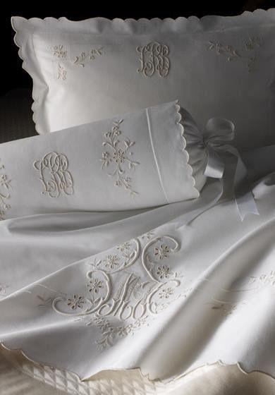 Pretty linens and ribbon!