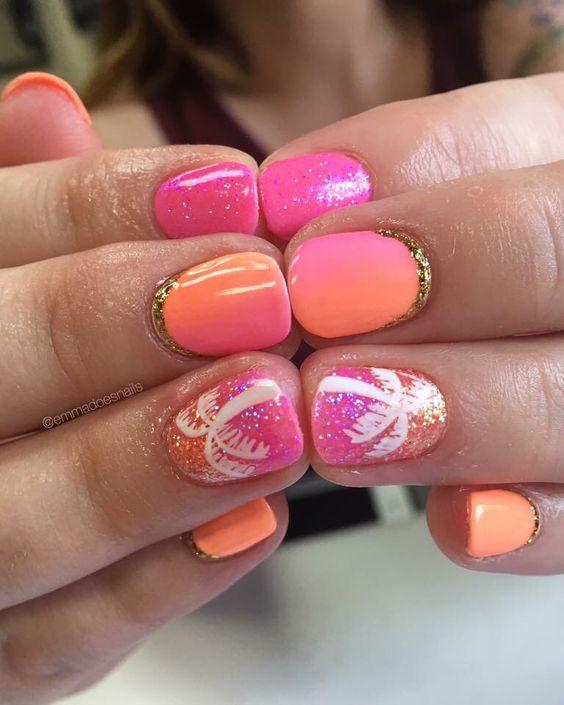 Emmadoesnails gel gels gel polish gel mani nails nail art short nails nail design cute nails palm tree nails summer nails ombre nails glitter nails hot pink nails