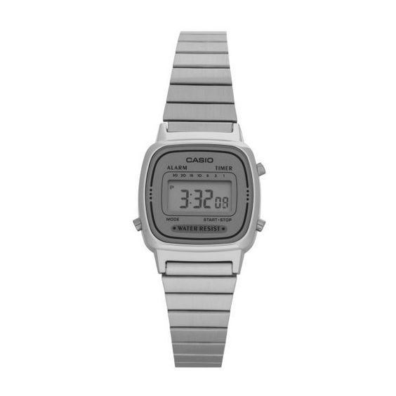 Casio Women's 23mm LA670WA-7D Digital Watch ($23) ❤ liked on Polyvore featuring jewelry, watches, silver jewellery, casio watches, grey jewelry, casio and gray watches