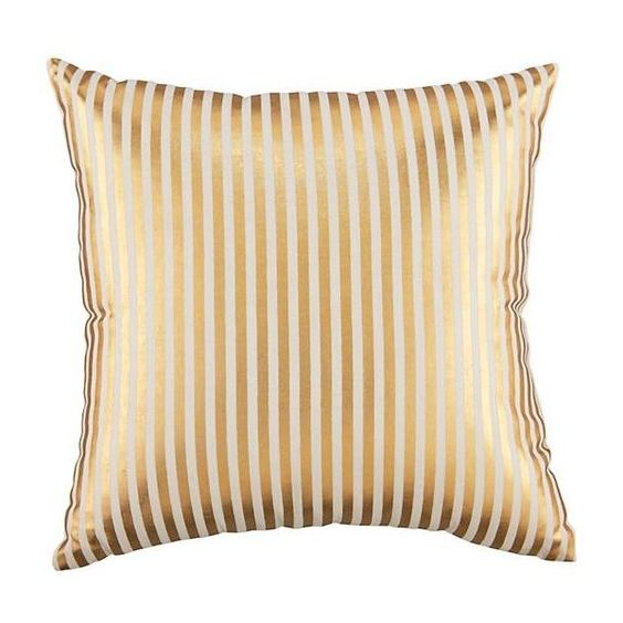 Pinstripe Pillow (Gold) ($19) ❤ liked on Polyvore featuring home, home decor, throw pillows, pillows, glitter throw pillows, gold home decor, gold toss pillows, gold accent pillows and gold throw pillows