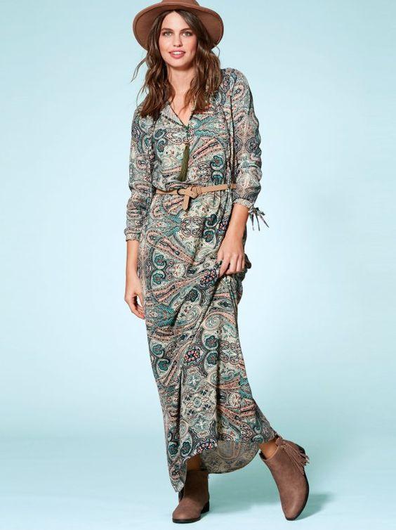 Vestido largo manga larga con estampado cachemira-VENCA