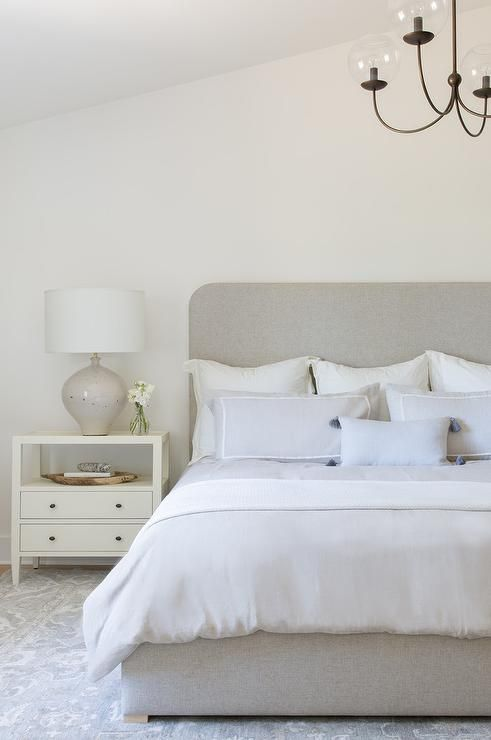 Gray And Ivory Transitional Bedroom Designed With A Gray