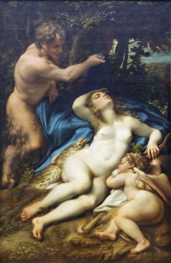 Vénus et l'Amour découverts par un satyre, Corrège (Louvre INV 42)
