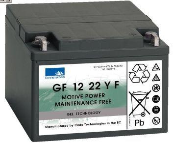 GF12022 YF http://www.shop.ecke-batterien.de/dryfit-Gelbatterie-12V/22AhC5 Zyklenfeste, wartungsfreie, verschlossene, wiederaufladbare Bleigelbatterie 12V/22 Ah(C5)