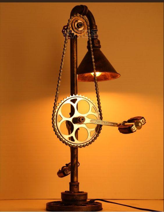 Comprar vintage l mpara de mesa de hierro - Tubos de fontaneria ...
