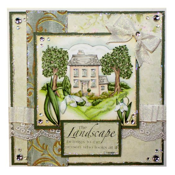 This is the Gorgeous new Spring Scenes designed by Sharon Bennett for Hobby Art. Clear set contains 9 clear stamps as seen on Create & Craft. This Gorgeous Card was made by our newest Design team member Sally Dodger.: