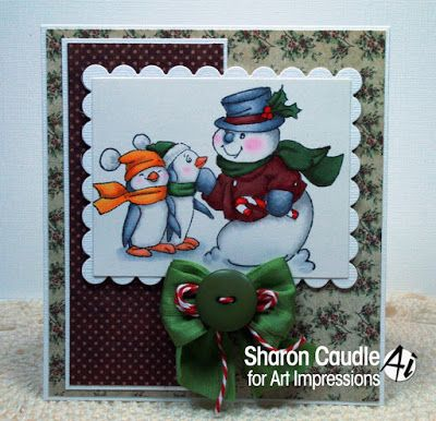 Art Impressions Rubber Stamps: Ai Christmas:  Ai Penguins set (SC0716) Michael's Exclusive!  Handmade card.