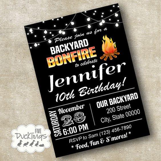 Backyard Bonfire Invitation Birthday Party Invite Printable Digital A140