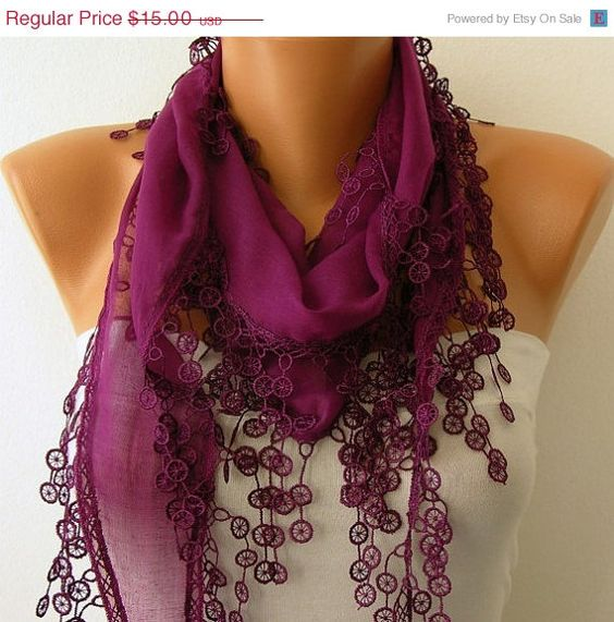ON SALE Purple Scarf   Cotton  Scarf  Cowl Scarf Shawl by fatwoman, $13.50
