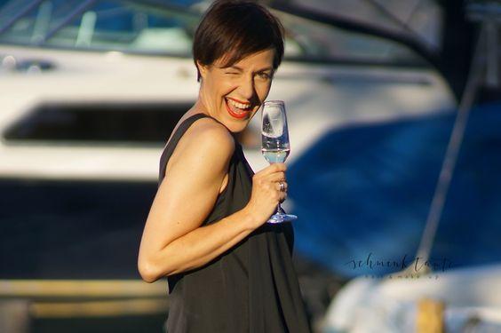 Champagnerglas mit Model.