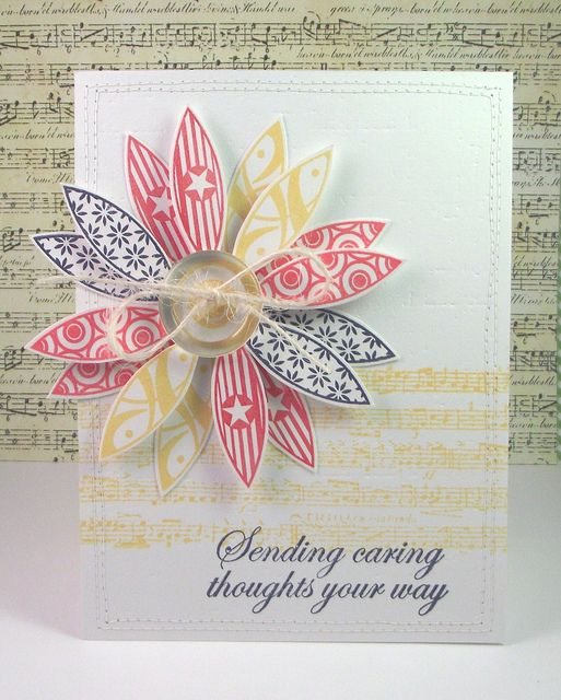 """I created this card using Kitchen Sink Stamps set """"Pretty Petals""""."""