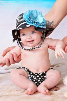 Black White Dot Sun Hats with Teal Large Rose