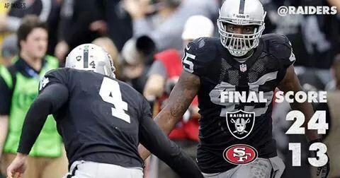 Battle of the Bay 2014. Final Score Raiders 24    49ers 13