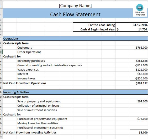 Cash Flow Statement  Download This Cash Flow Excel Template And