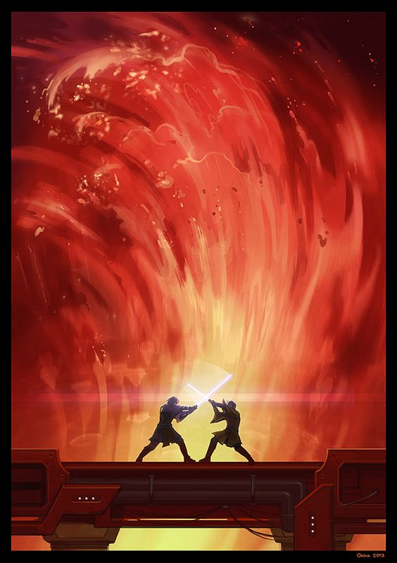 Star Wars Episode 3, Revenge of the Sith. Obi-wan Kenobi and An akin / Darth Vader