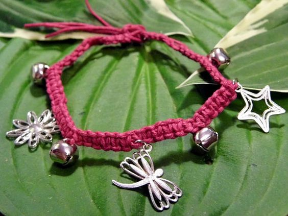 SOLD Dark Pink Hemp Anklet With Charms and by PeaceLoveNKnottyHemp, $10.00