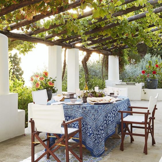Here comes the sun! As the days grow longer and the temperature rises, get ready to take more meals to the great outdoors. Loving this vignette as seen in Veranda Magazine. It is the dreamy private terrace, belonging to Dedar fabric founders Nicola Fabrizio and his wife Elda. It overlooks the Tyrrhenian sea, the ideal space for celebrating big (and little) events with family and friends, with hanging grape vines above and beautiful flowers with cement and Sicilian tiles underfoot. Have a minute,