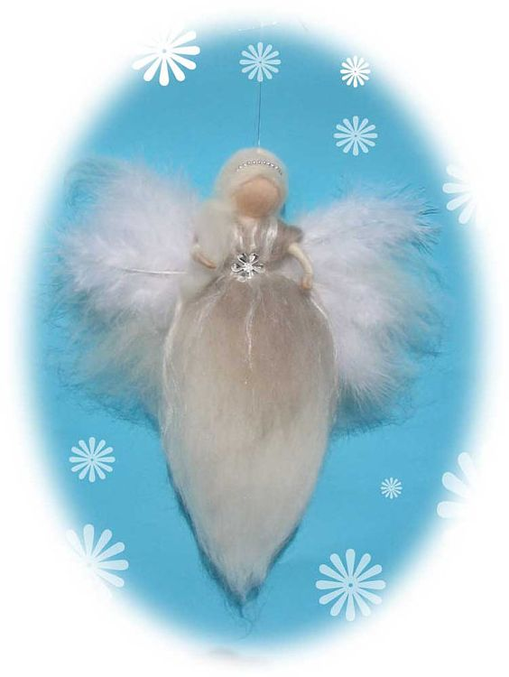 PIA  Needle Felted Wool angel Waldorf inspired door LivelySheep