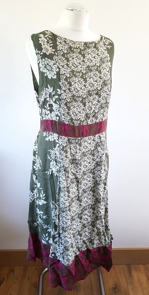 Monsoon Size 22 Uk Green Floral Pink Floaty Dress Holiday Cruise Party Fashion Clothing Shoes Accessori Midi Dress Plus Size Floaty Dress