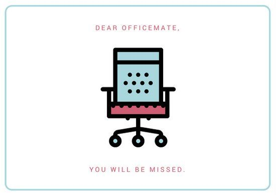 White Officemate Farewell Card Farewell Cards Simple Graphic
