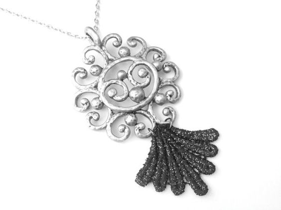 Lace Necklace Hand Painted Black with by WhiteBearAccessories, $30.00