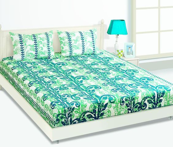 Colour 	BLUE Pattern 	TWIG LEAVES Brand 	Housethis Detail Of Contents 	One  Double Bed Sheet( 229X274) cm & Two Pillow Covers (45X68) cm