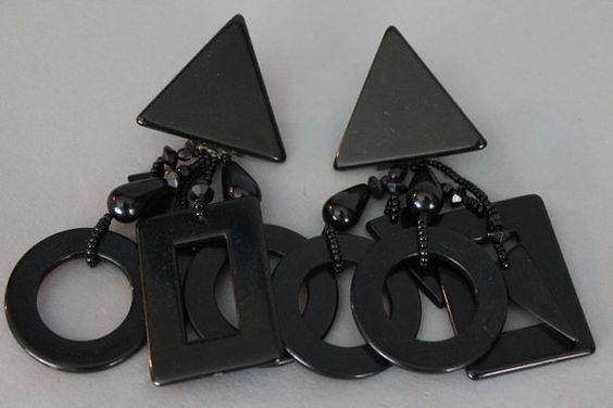 Vintage Black Triangle and Shapes Plastic Earrings. Avant Garde/Art Deco