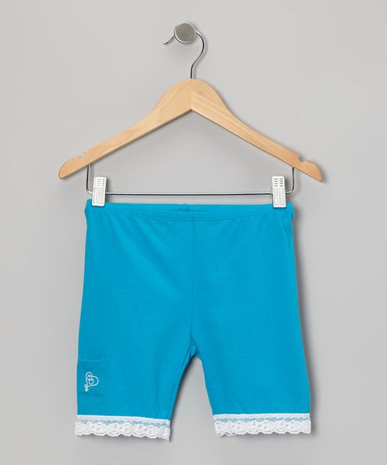 Look at this Over Undies Turquoise Lace-Trim Shorts - Toddler