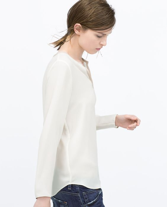ZARA - WOMAN - SHIRT WITH CONTRAST PIPING NECKLINE