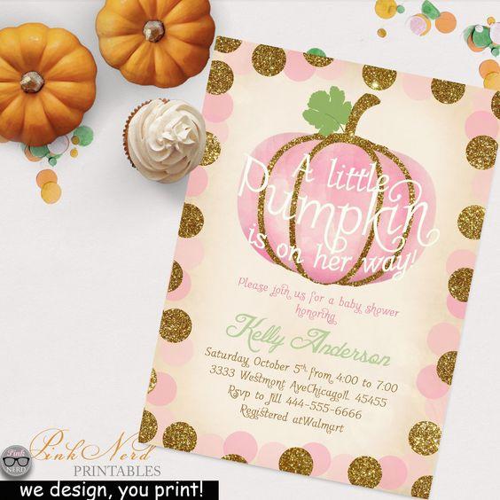 PINK LITTLE PUMPKIN is on her way fall girl baby shower vintage invitation - Pink Nerd Printables