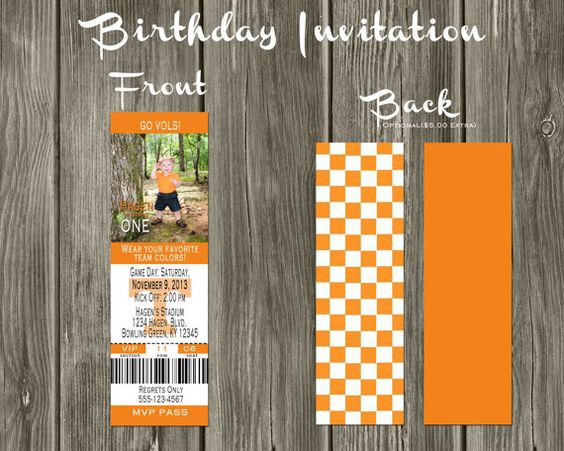 Tennessee Vols Football Ticket Digital Birthday by SavCreations, $18.00