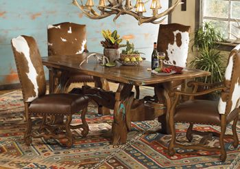 Mesquite Dining Table With Hand Inlaid Chips Of Turquoise FUN For The Ho