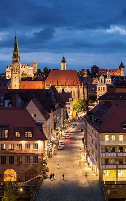 Nuremberg at sunset with St. Sebald and the Castle in the background, Bavaria, Germany  