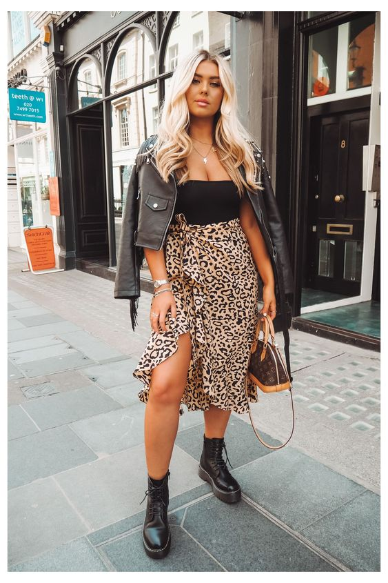 @abbieblyth wears Lulu Wrap Skirt in Leopard Print #leopard #print #skirt #outfit #evening #leopardprintskirtoutfitevening The Lulu Wrap Skirt is as versatile as they come. Featuring leopard print and a ruffle trim, we'll be wearing ours with a roll neck or tee and a leather jacket for a chic day time look or with a cami and heels for drinks in the evening. Product Code: 56SIHZ71