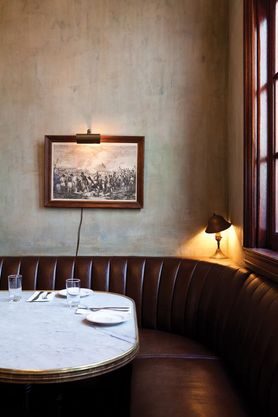 Restauranr using warm browns + leather. Simple but lovely. Photo by Nicole Franzen Photography.