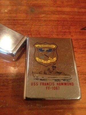 Vintage ZIPPO Lighter USS FRANCIS HAMMOND FF-1067 1973 1 Hash Mark MILITARY