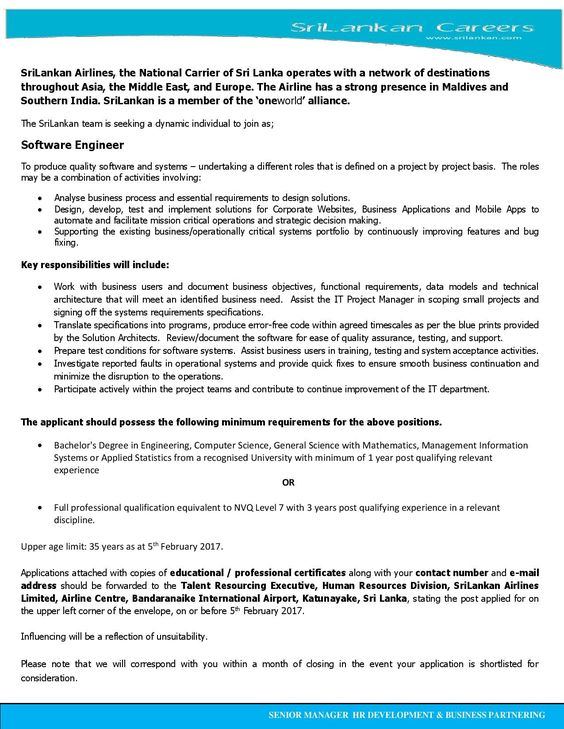 Software Engineer at SriLankan Airlines CareerFirst Government - chief executive officer job description